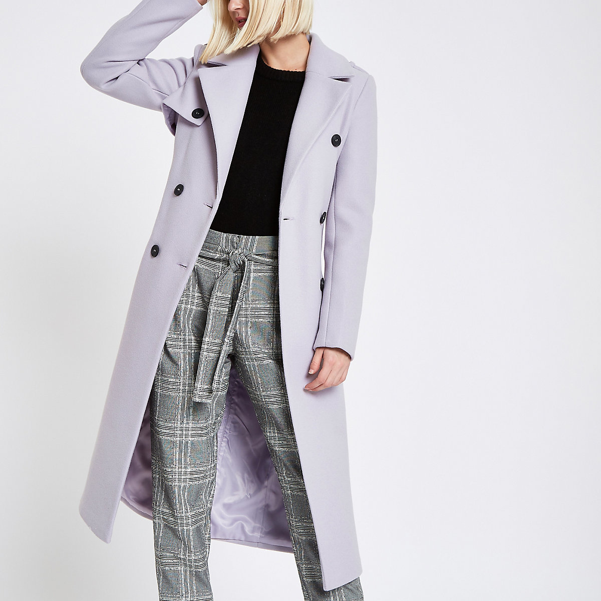 Light purple belted trench coat