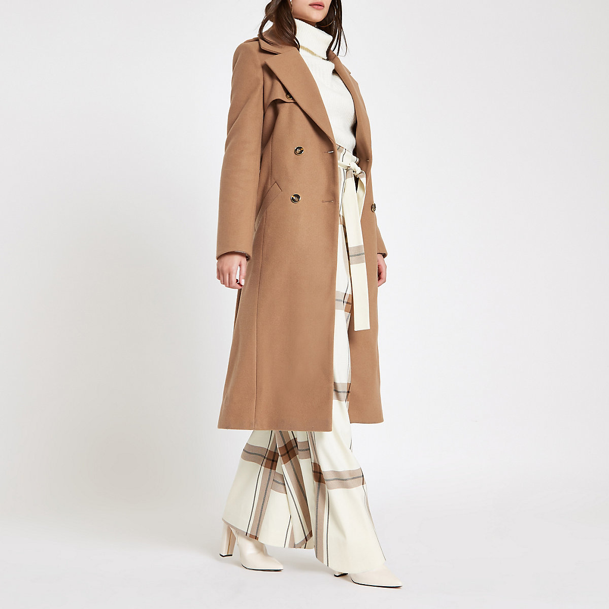 Light brown belted trench coat