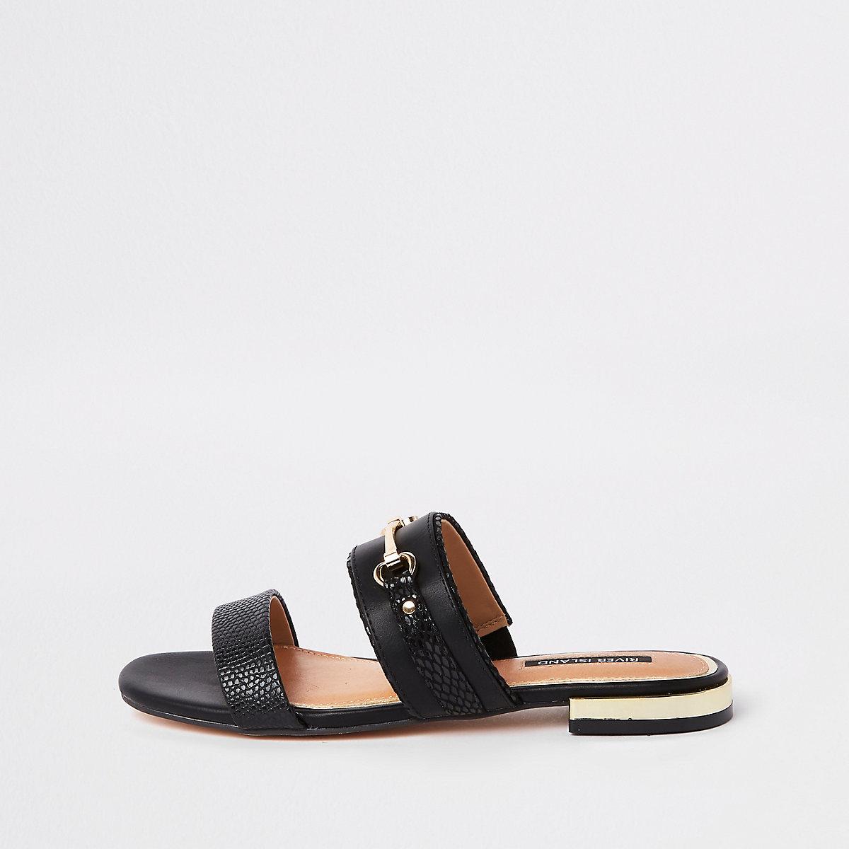Black snaffle trim mule sandals