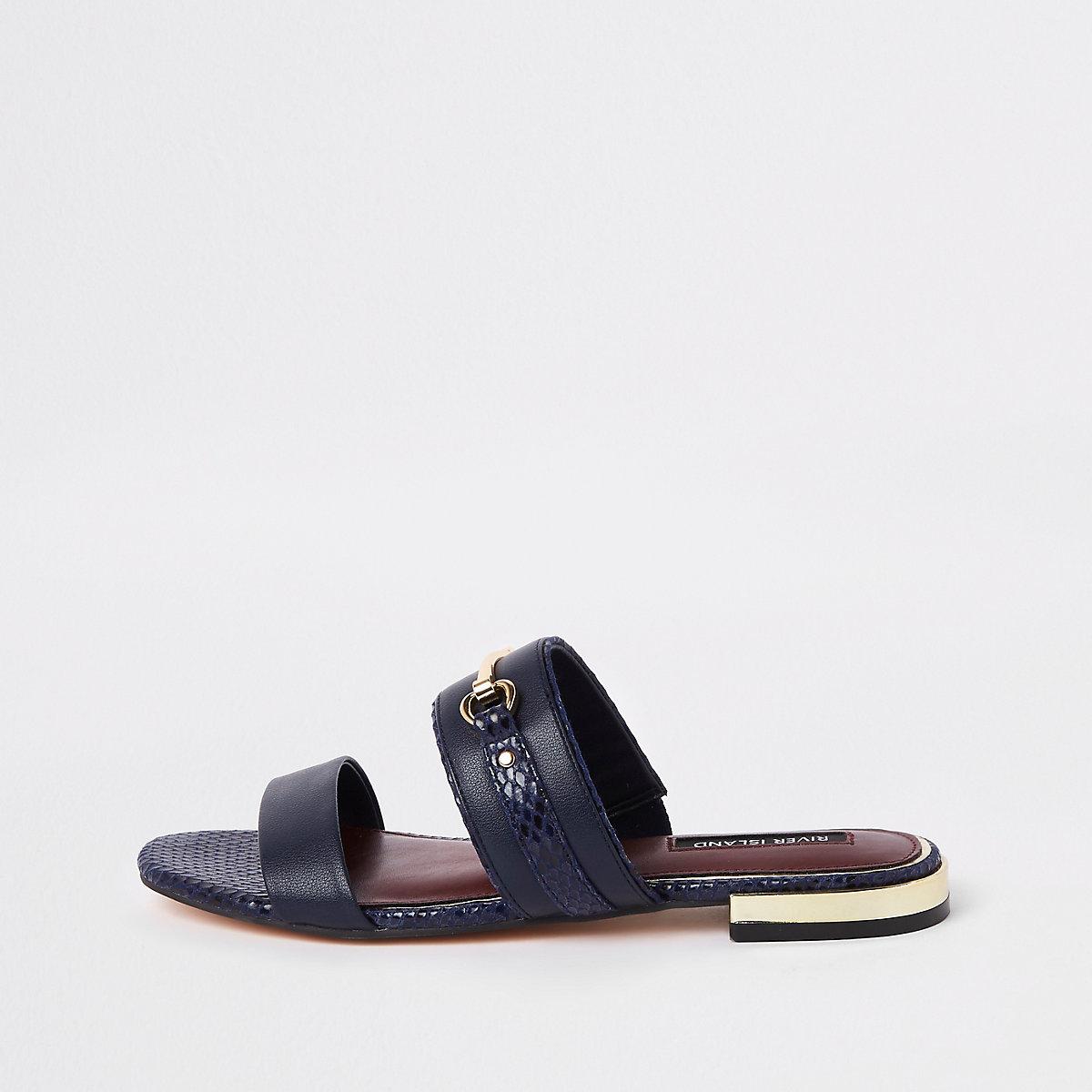 Navy snaffle flat sandals