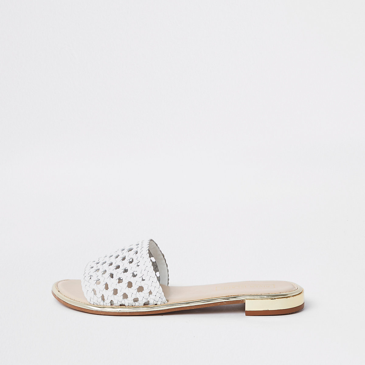 White leather open toe mules