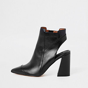 Black leather open back shoe boots