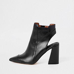 Schwarze Shoe Boots aus Leder