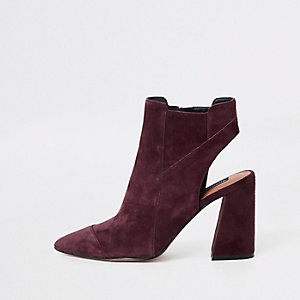 Burgundy suede open back shoe boots