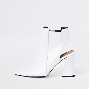 White leather open back shoe boots