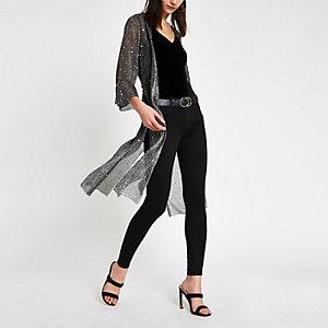 Zwarte dusterjas in kimonostijl met pailletten