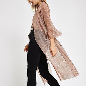 Lichtroze dusterjas in kimonostijl met pailletten