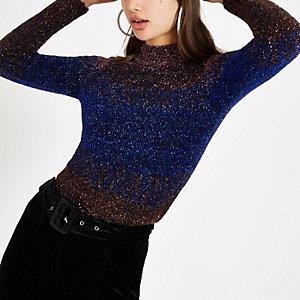 Marineblauwe gebreide pullover met strepen en glitter