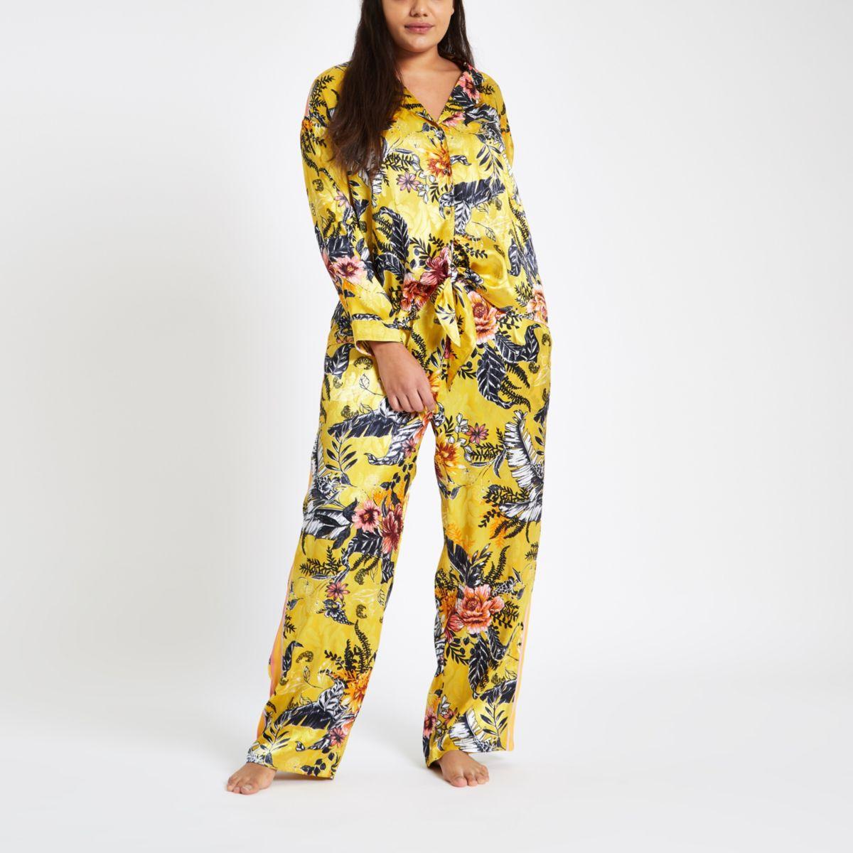 Plus yellow jacquard floral tie pyjama shirt