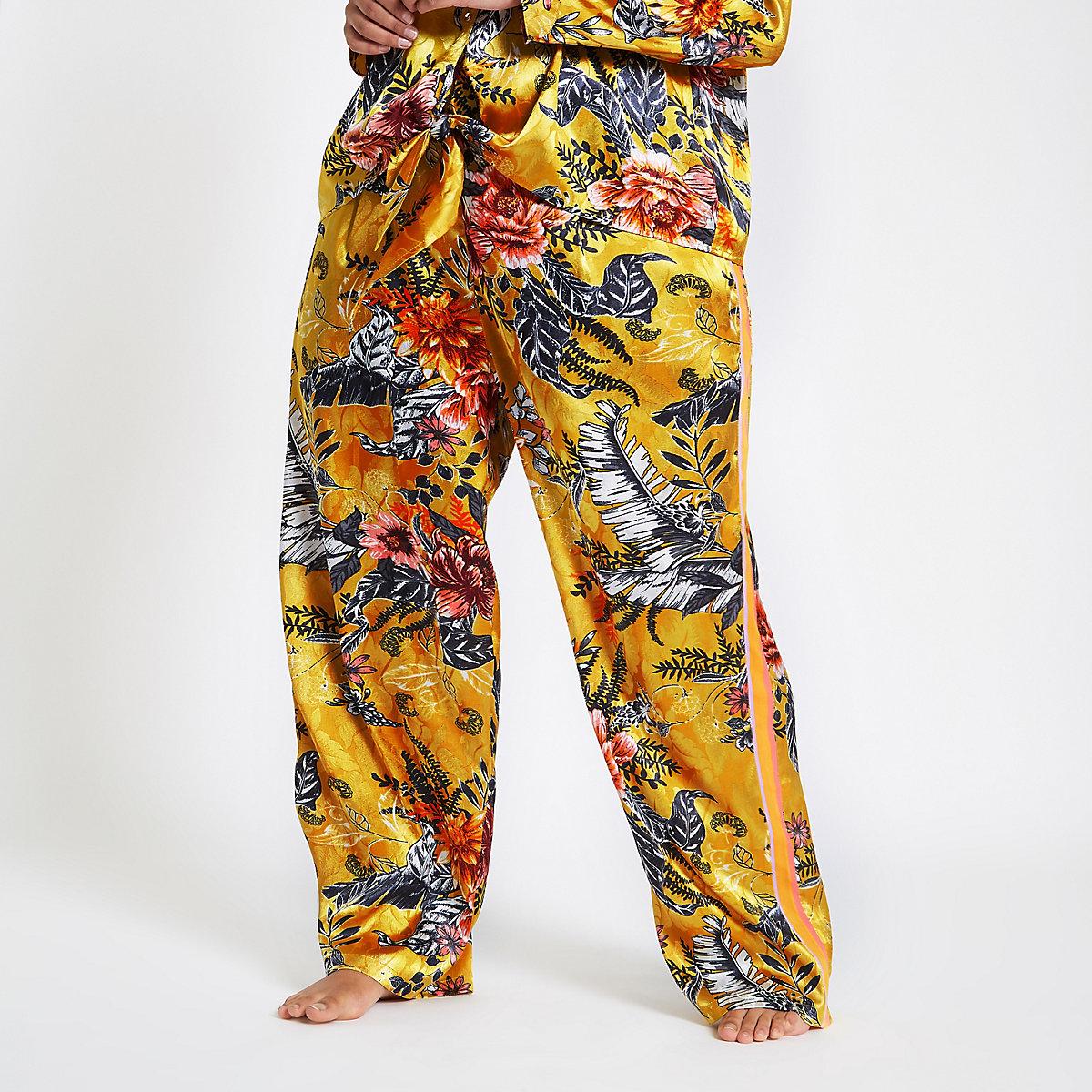 Plus yellow jacquard floral pyjama trousers