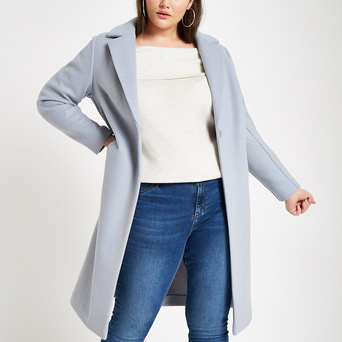 Plus blue single breasted longline coat