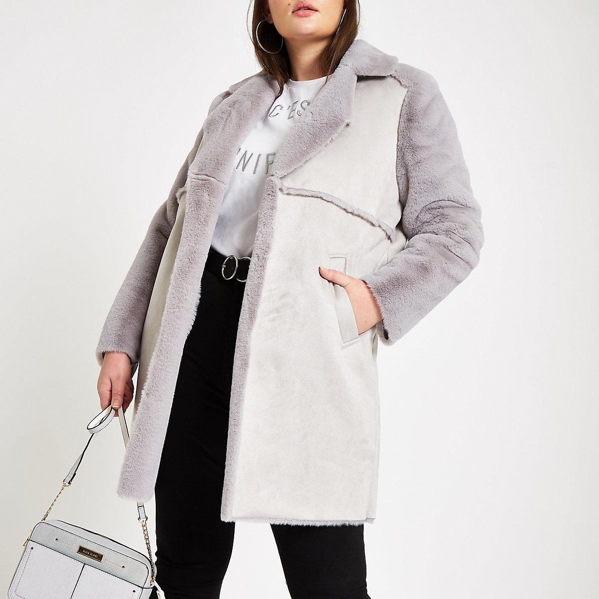 Plus grey suede faux fur trim longline coat