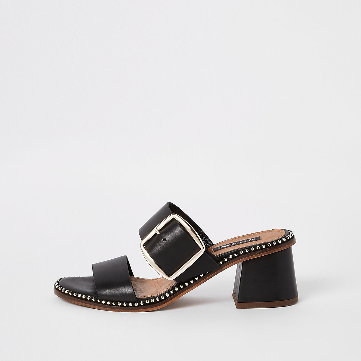 Black leather ball trim block heel mules