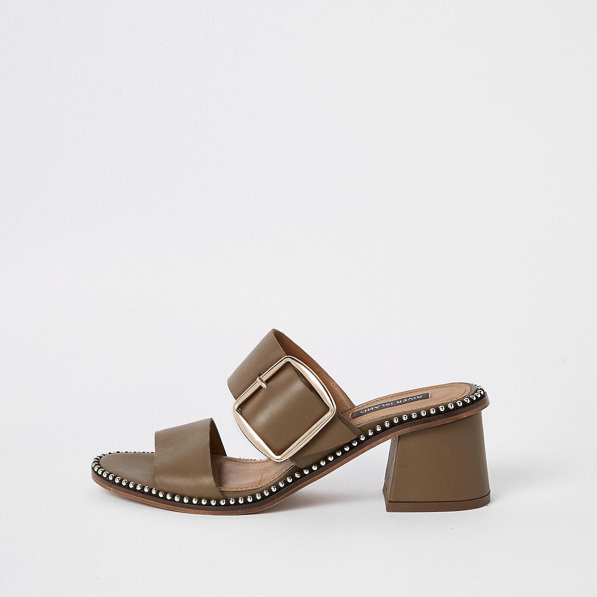 Green leather ball trim block heel mules