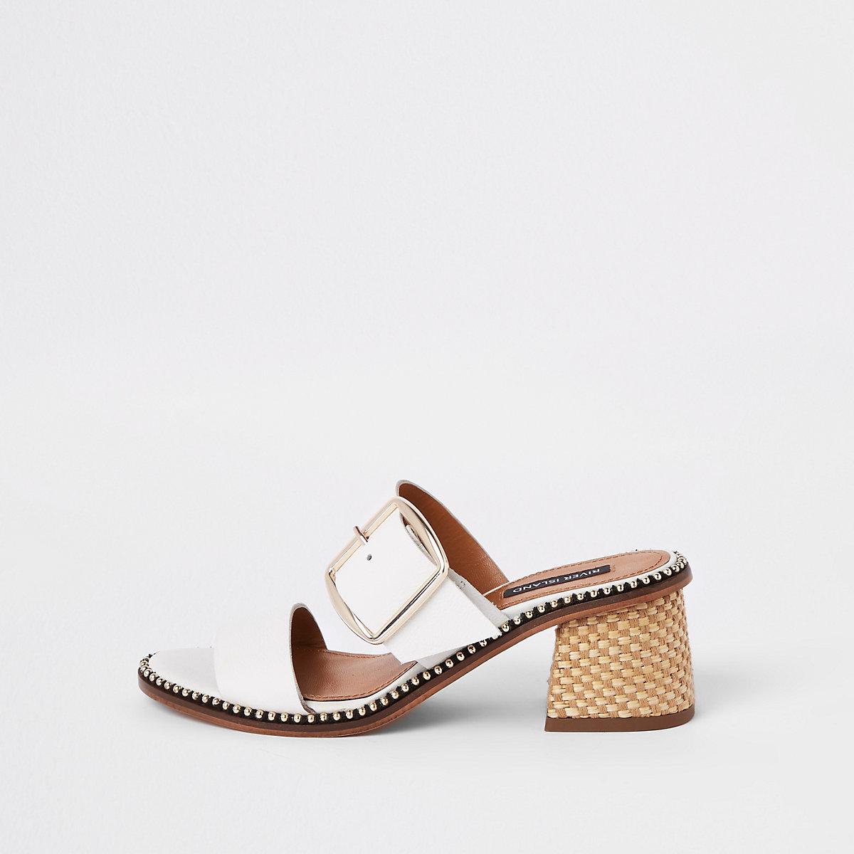 White leather block heel mule