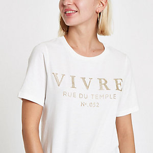 White 'Vivre' glitter T-shirt