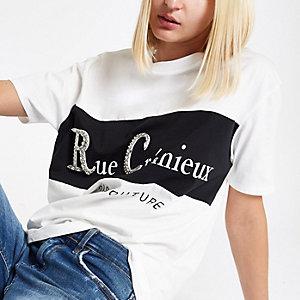 T-shirt imprimé «Rue Cremiux» blanc