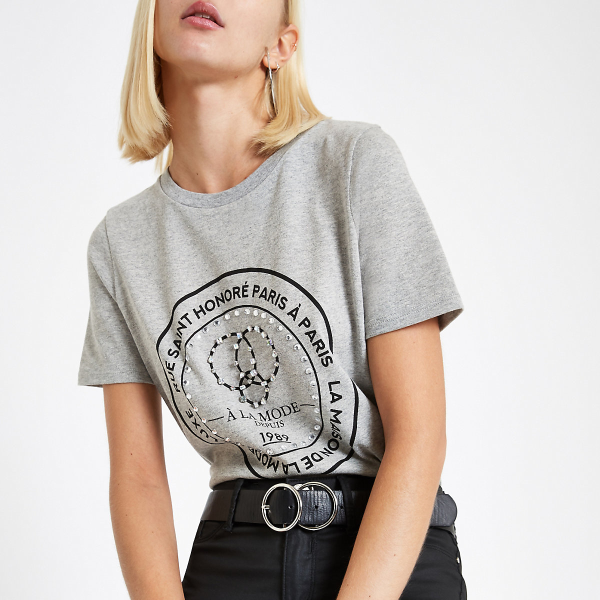 Grey 'Rue Saint' jewel embellished T-shirt
