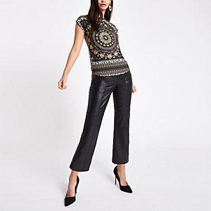 T-shirt imprimé foulard léopard noir
