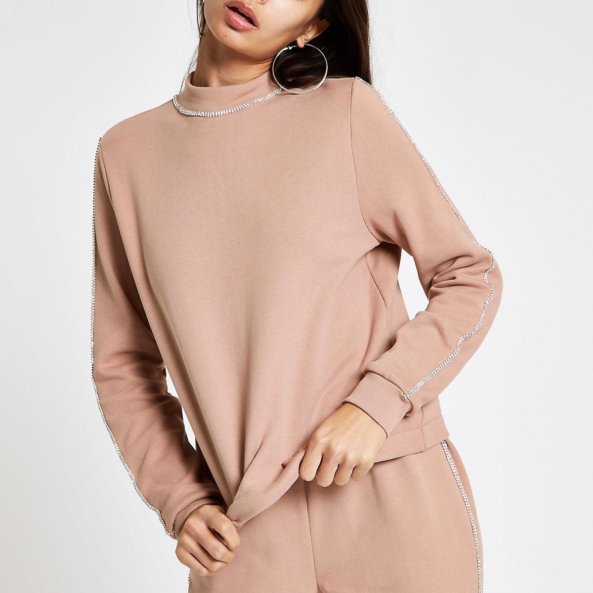 Pink rhinestone trim sweatshirt