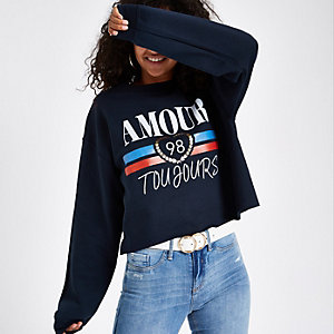 Pull « Amour toujours » bleu marine