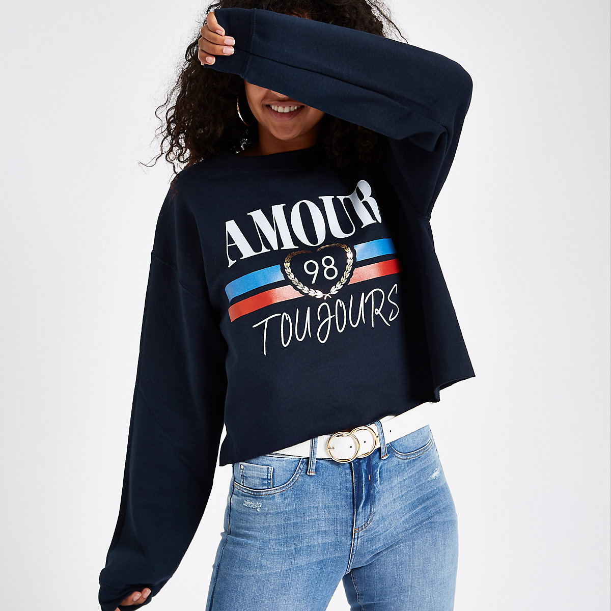 Navy 'Amour toujours' jumper