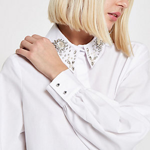 White embellished collar long sleeve shirt