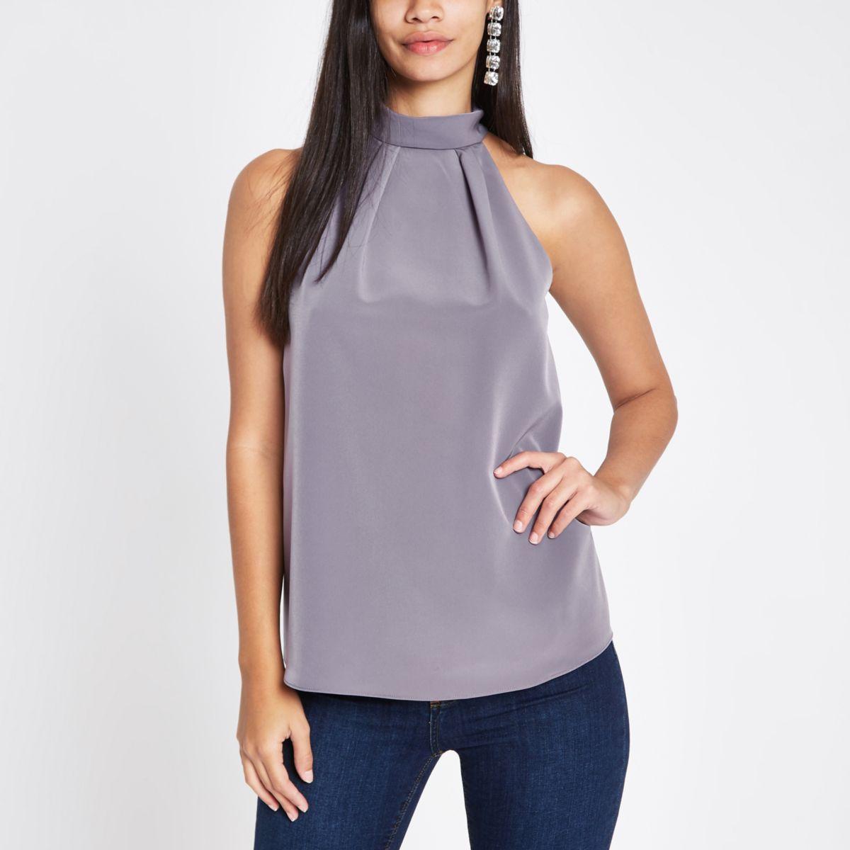 Purple halter neck top