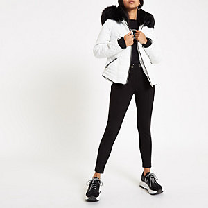 Petite white faux fur hood padded jacket