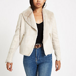 Petite cream faux fur lined fallaway jacket