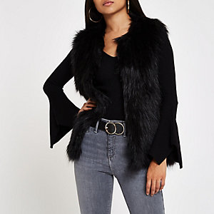 Petite black faux fur gilet