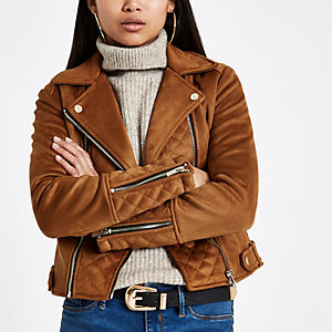 Petite brown suedette quilted biker jacket