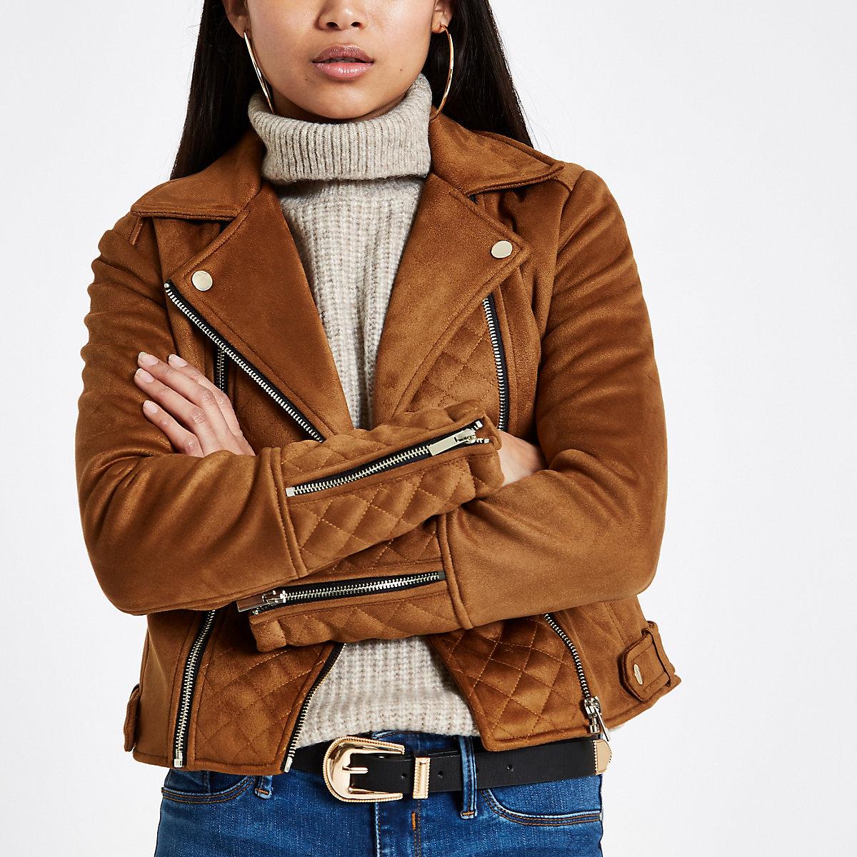 Petite brown suedette quilted biker jacket