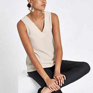Beige V neck sleeveless bar back top