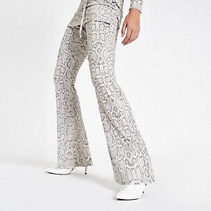 Pantalon évasé en jersey gris imprimé serpent