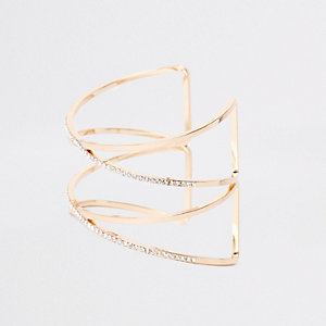 Gold colour diamante cuff bracelet