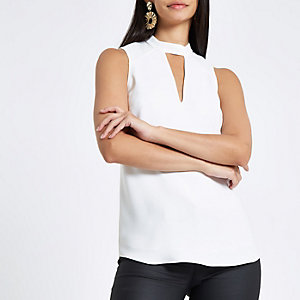 White sleeveless cut out top