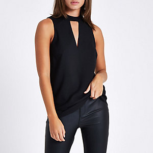 Black sleeveless cut out top