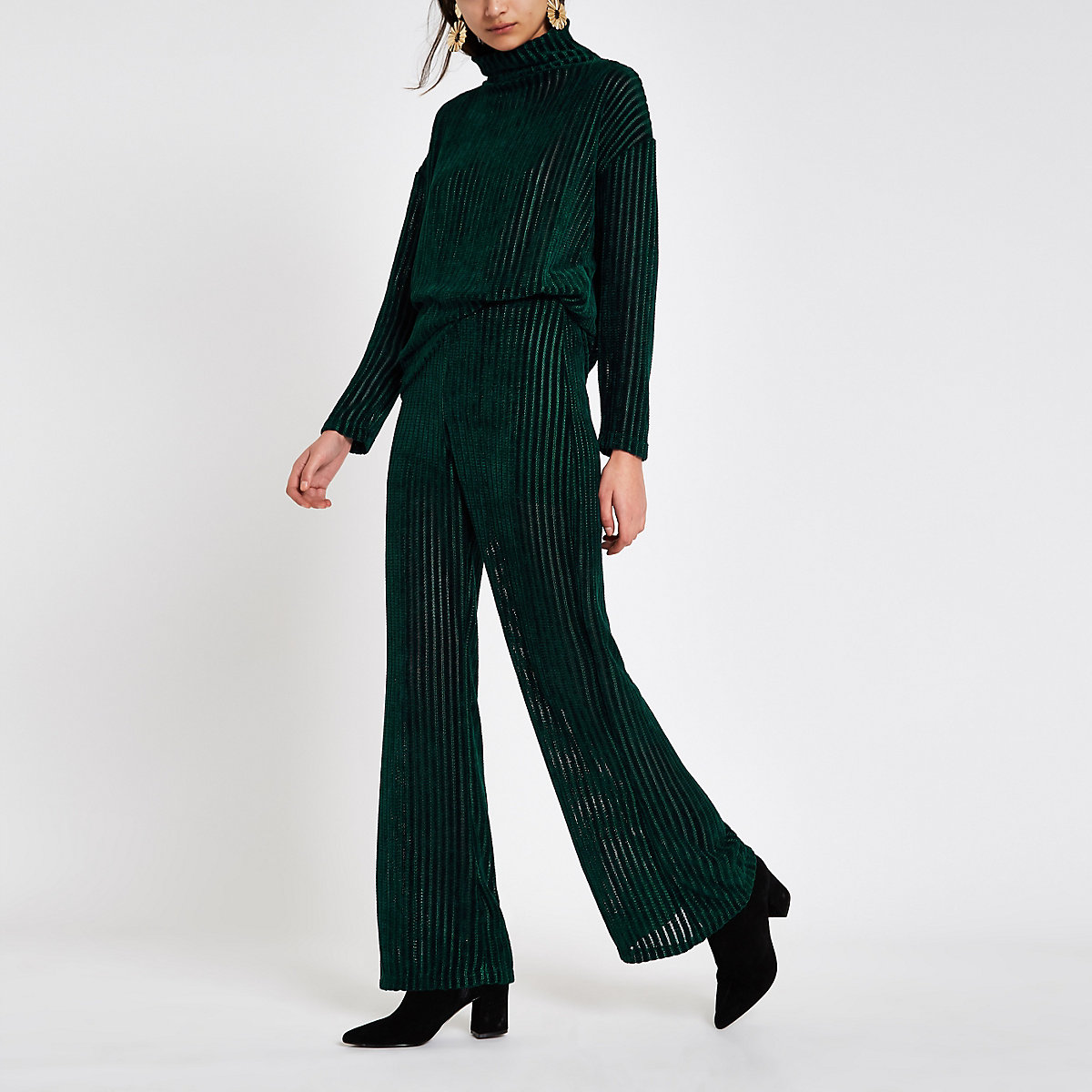 Dark green pull on wide leg pants