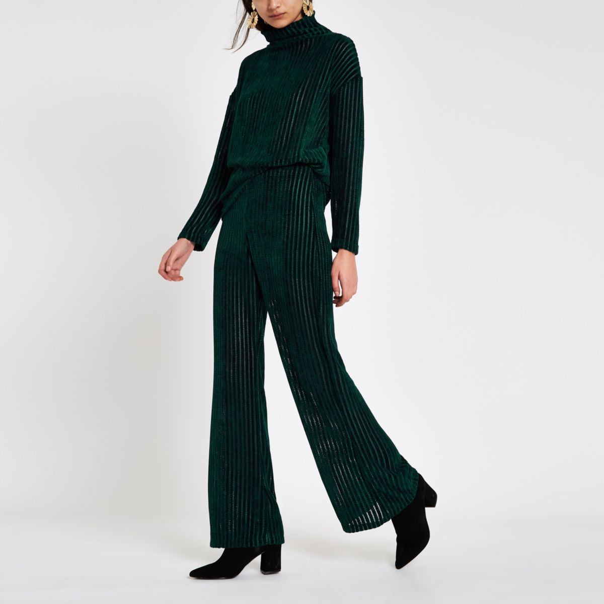 Dark green pull on wide leg trousers