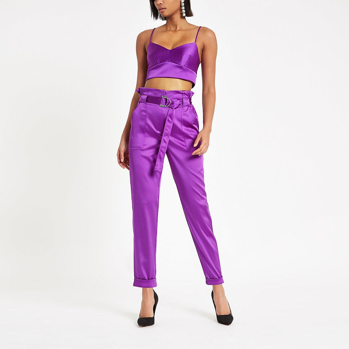 Purple satin bralette