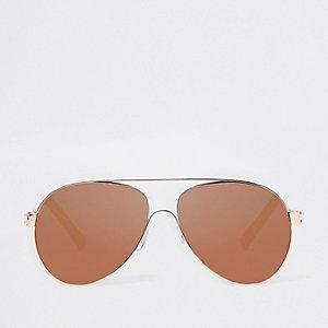 Lunettes de soleil aviateur or rose à verres marron