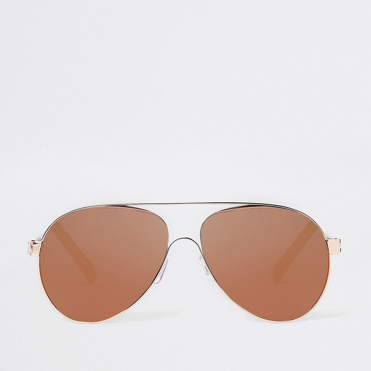 Rose gold brown lens aviator sunglasses