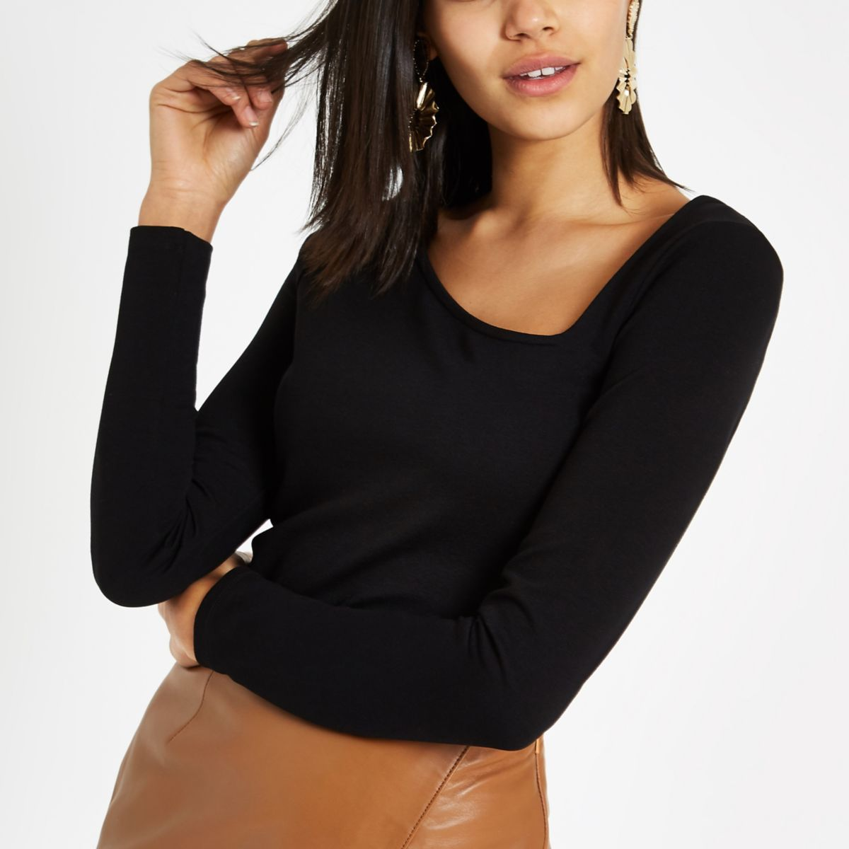 Black ponte asymmetric neckline top