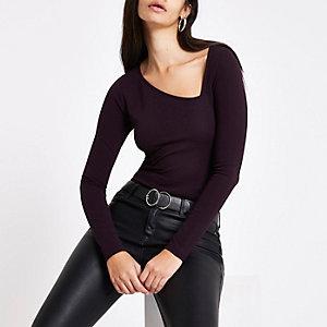 Purple ponte asymmetric neckline top