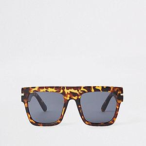 Lunettes de soleil masque léopard marron à verres fumés