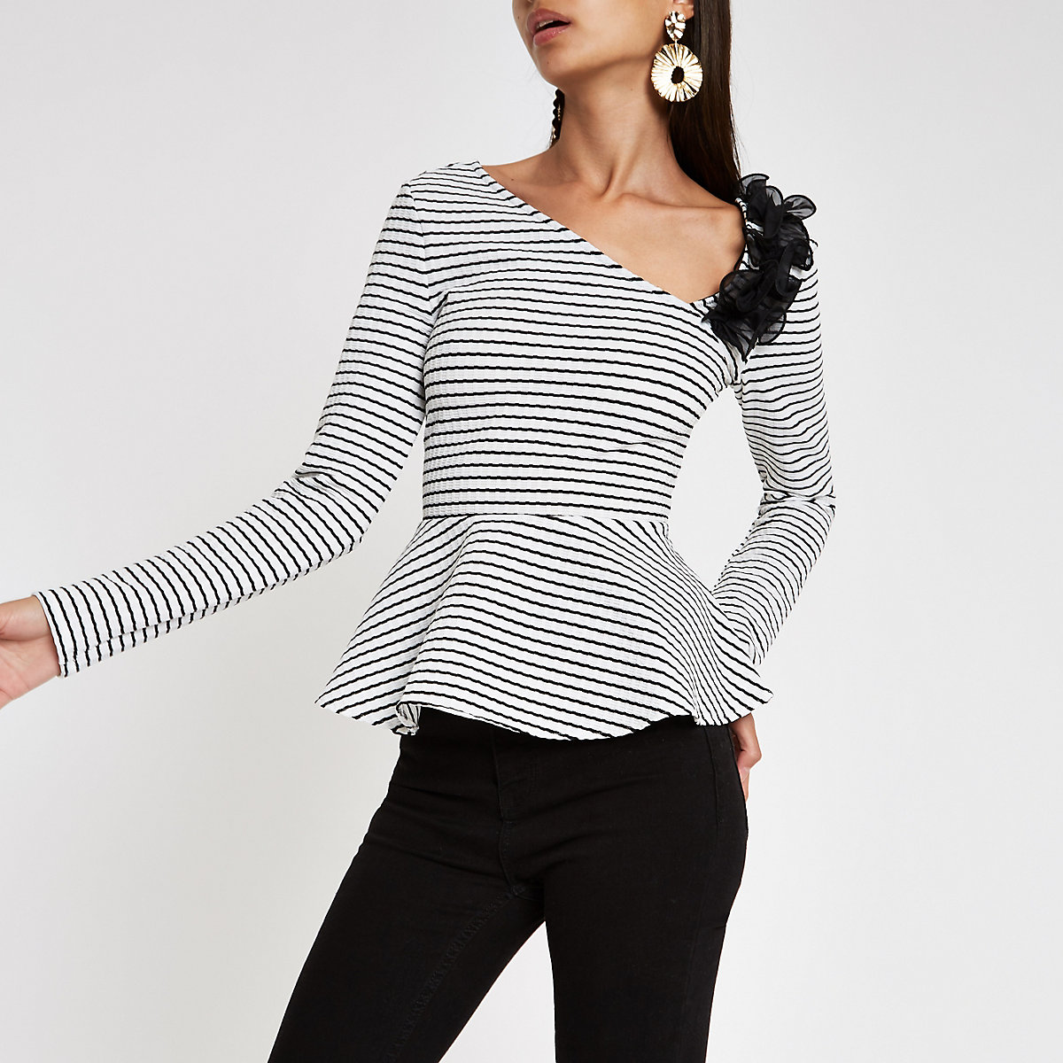 Black stripe off shoulder peplum hem top