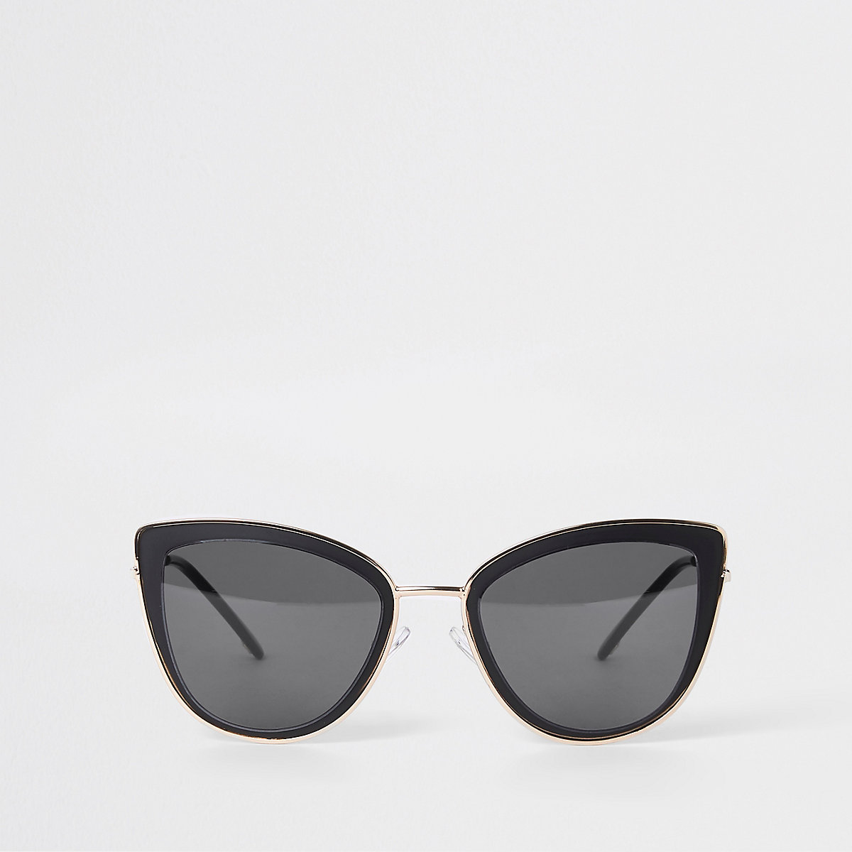 Black gold tone trim cat eye sunglasses