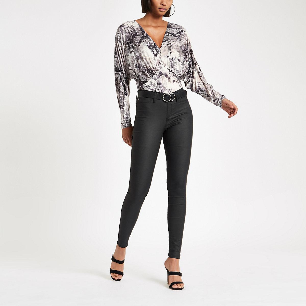 Grey snake print plunge bodysuit