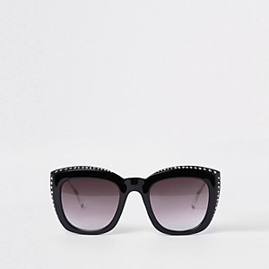 Black diamante studded glam sunglasses